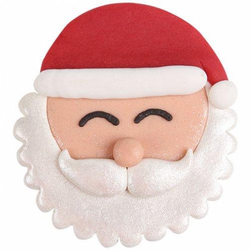 """Grande Tête de Père Noël 2D en pâte d""""amande"""