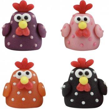 3 poules 3d en p te d 39 amande pour l 39 anniversaire de votre enfant annikids. Black Bedroom Furniture Sets. Home Design Ideas