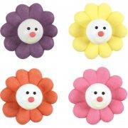 4 fleurs en sucre sur Chewing-gum