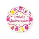 Mini Disque en Sucre Heureux anniversaire Confettis (7,5 cm)