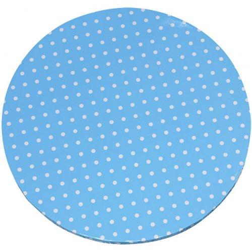 Grand Plateau à Gâteau Bleu à Pois Blancs (40 cm).