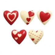 10 Coeurs Rouge et Blanc en Chocolat