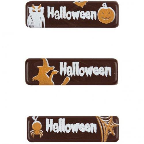 3 Mini Plaquettes Halloween en Chocolat noir (4 cm)
