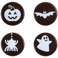 4 Mini Disques Halloween en Chocolat noir (2 cm)
