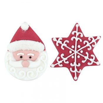 1 Tête de Père Noël + 2 Etoiles à plat - Sucre