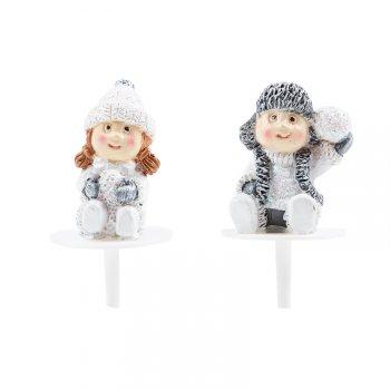 2 Pics Enfants de Noël (3 cm) - Plastique