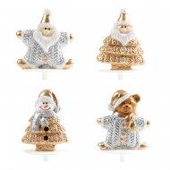 4 Pics Figurines de Noël Or/Argent (3,5 cm) - Plastique