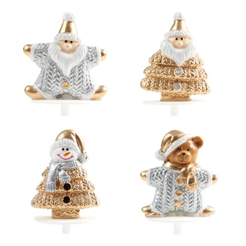 2 Pics Figurines de Noël Or/Argent (3,5 cm) - Plastique
