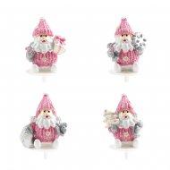 2 Pics Père Noël Rose (3 cm) - Plastique