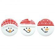 3 Têtes de Bonhomme de Neige à plat (4 cm) - Sucre