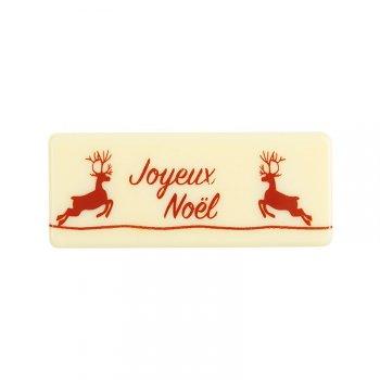 2 Plaquettes Joyeux Noël Rennes Rouge (8 cm) - Chocolat Blanc