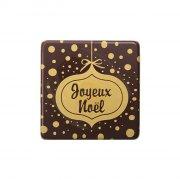 2 Petites Plaquettes Joyeux Noël Or (3,8 cm) - Chocolat noir