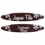 3 Plaquettes Ovales Joyeuses Noël (8 cm) - Chocolat lait