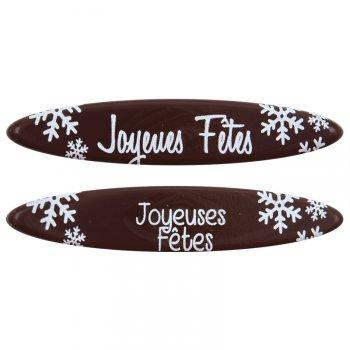 3 Plaquettes Ovales Joyeuses Fêtes (8 cm) - Chocolat lait