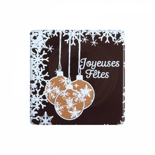 3 Carrés Boules de Noël (5 cm) - Chocolat lait