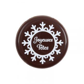 3 Médaillons Joyeuses Fêtes (3,5 cm) - Chocolat noir