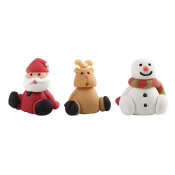 3 Figurines Noël 3D (4 cm) - Massepain
