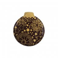 3 Boules de Noël Or à plat (3 cm) - Chocolat noir