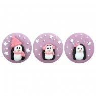 3 Médaillons Pingouin Rose (3,5 cm) - Sucre