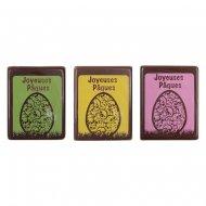 3 Plaquettes Joyeuses Pâques Oeuf (4,8 cm) - Chocolat noir