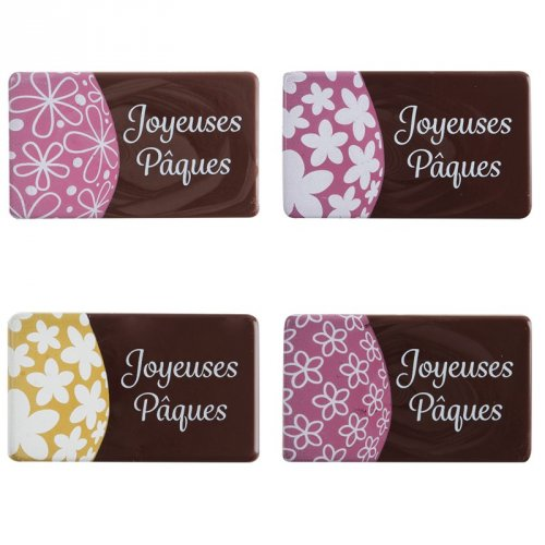 4 Plaquettes Joyeuses Pâques Fleurs (4,5 cm) - Chocolat noir