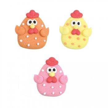 3 Poules Pastels et Pois (3 cm) - Sucre