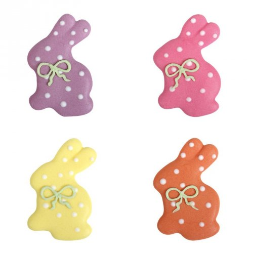 4 Lapins Pastels et Pois (4 cm) - Sucre