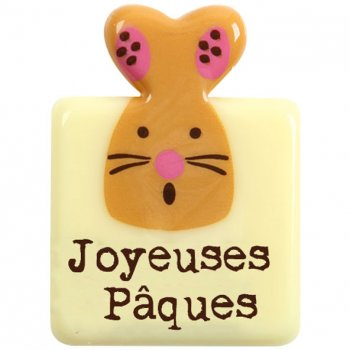 """4 Plaquettes """"Joyeuses Pâques"""" Chocolat Blanc"""