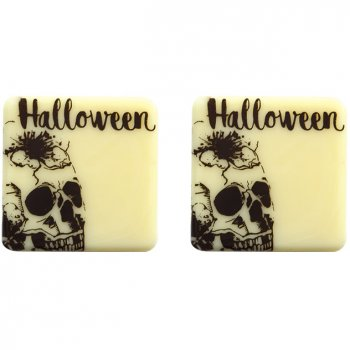 5 Carrés Crâne Halloween (3 cm) - Chocolat Blanc