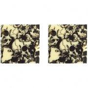 4 Carrés Crânes Baroques (3 cm) - Chocolat Blanc