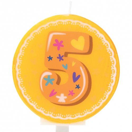 Bougie Ronde Chiffre 5 (6 cm)