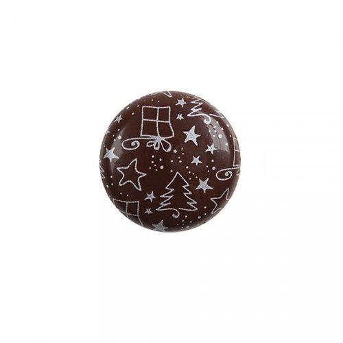2 Pastilles Noël Argent (3,5 cm) - Chocolat au Lait