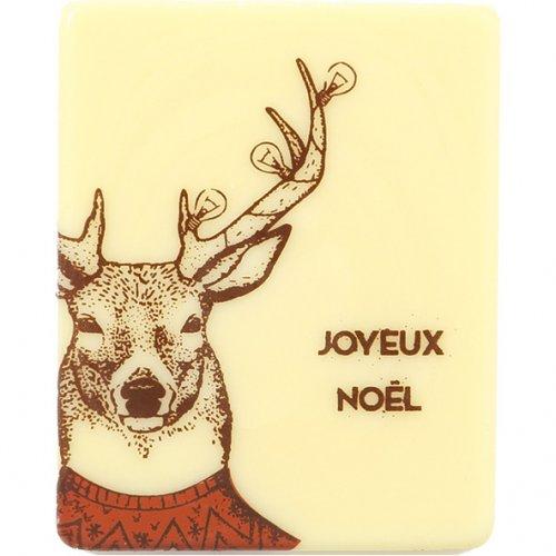 3 Plaquettes Joyeux Noël Rennes (5 cm) - Chocolat Blanc