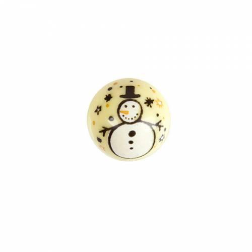 2 Boules bonhomme de Neige Noël (2,8 cm) - Chocolat Blanc