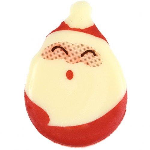 2 Têtes de Père Noël (4 cm) - Chocolat Blanc
