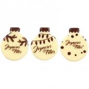 6 Minis Boules de Noël à plat (2,5 cm) - Chocolat Blanc