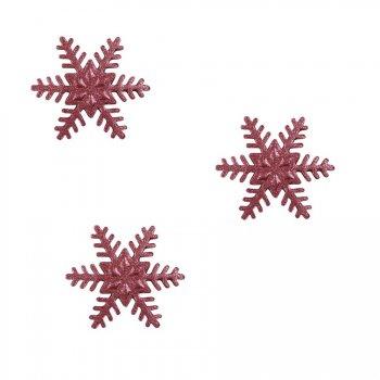 3 Flocons Rouge Métallisé Moyen - Sucre (4 cm)