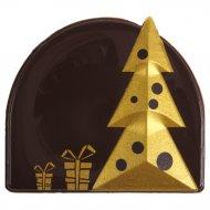 2 Embouts de Bûche Sapin Or - Chocolat noir