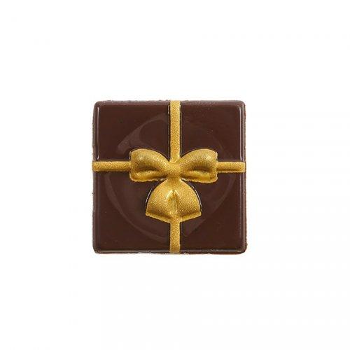 1 Plaquette Cadeau Or 2D (5 cm) - Chocolat Noir