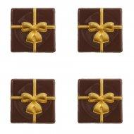 4 Petites Plaquettes Cadeau Or (3,8 cm) - Chocolat Noir