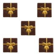 5 Mini Plaquettes Cadeau Or (3 cm) - Chocolat Noir