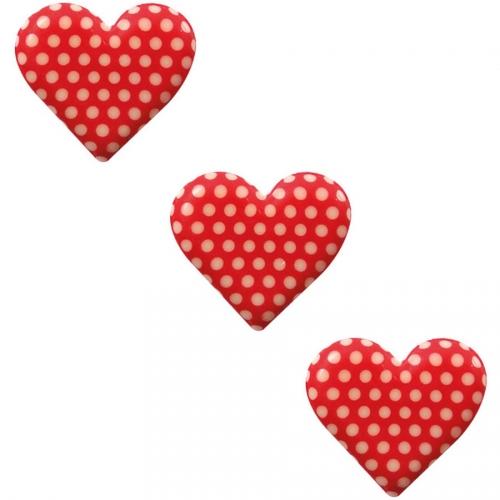 3 Demi Coeur Rouge à Pois - Chocolat