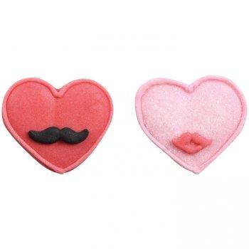 1 Coeur Moustache + 1 Coeur Bisous