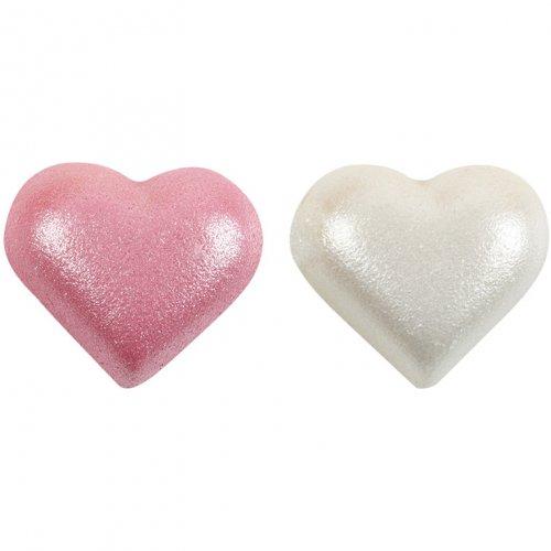2 Demi Coeur Rose + 2 Blanc Nacré