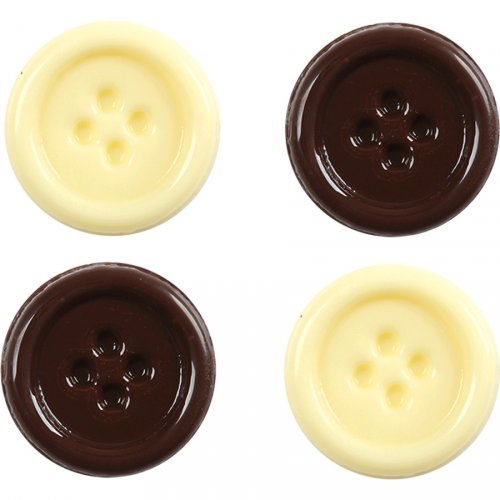 2 Boutons Chocolat lait + 2 Boutons Chocolat blanc