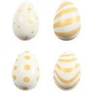 4 Petits Oeufs Choco Design Blanc/Or