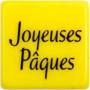 5 Carrés Joyeuses Pâques Jaunes (3 cm)