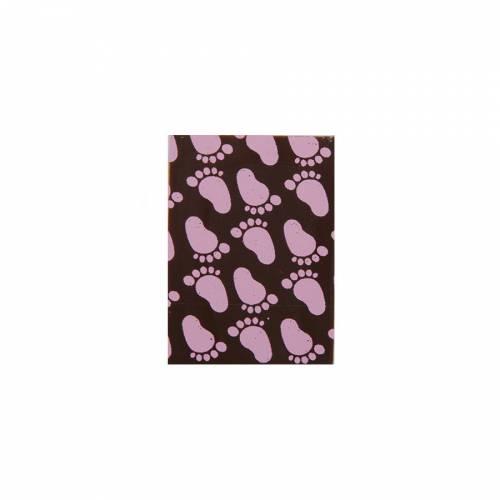 4 Plaquettes Naissance Rose Chocolat (3,5 cm)