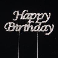 Happy Birthday Strass (10 cm) - Métal et Verre