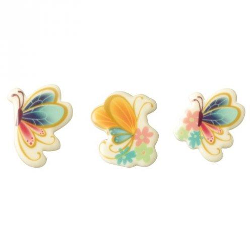4 Papillons colorés (4,5 cm) - Chocolat blanc